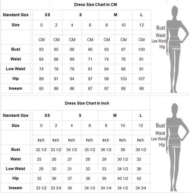 Bandage Dresses Size Chart