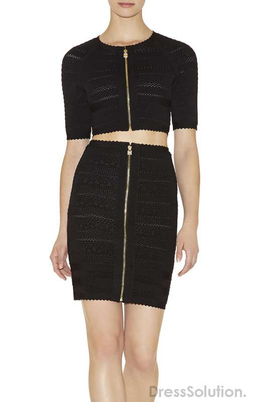 Shop Online Sexy Bandage Bodycon Dress Two Piece Half Sleeve Black