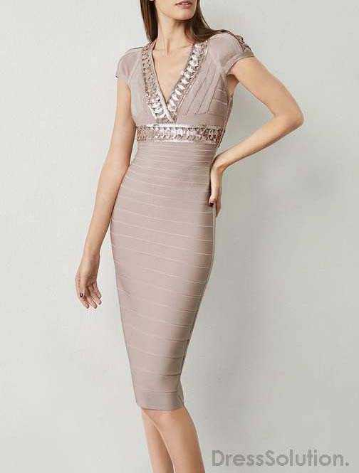 8f636dc56fb8 Fashion Sexy Bandage Bodycon Dress V Neck Sequined Nude ...